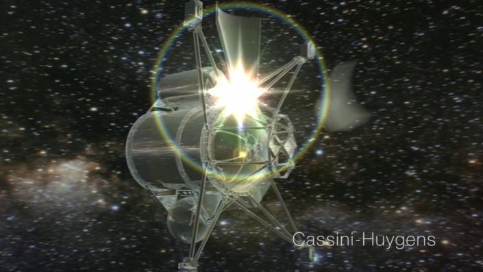 Cassini, animation, space, stars, lens flare