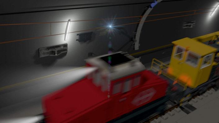 Mobiles Einsatztor, Einfahrt mit Lok
